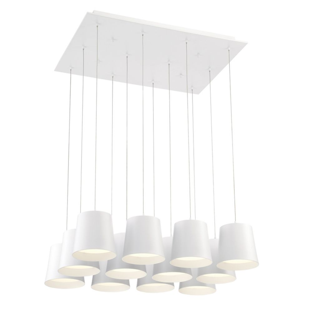 Borto Collection, 12-Light LED White Chandelier