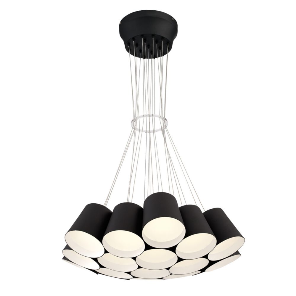 Borto Collection, 19-Light LED Black Chandelier