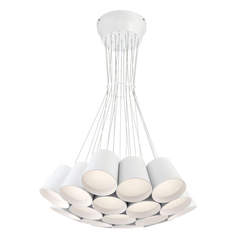 Borto Collection, 19-Light LED White Chandelier