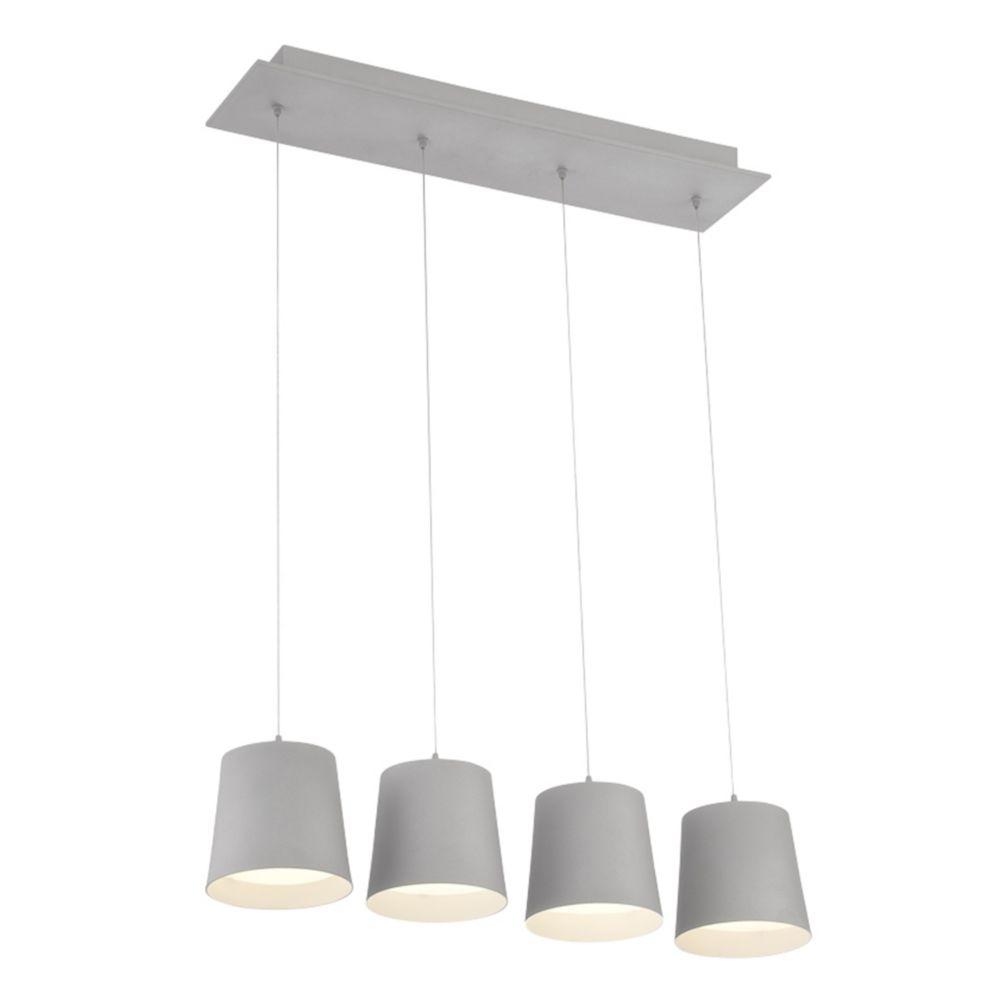 Collection Borto, lustre gris à 4ampoules DEL