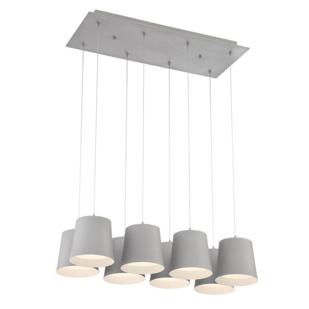 Borto Collection, 8-Light LED Grey Chandelier