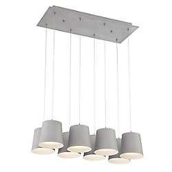 Borto Collection, 8-Light LED Grey Chandelier