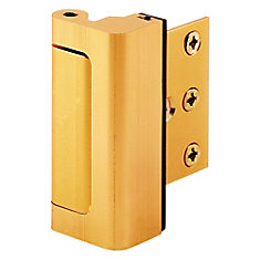 Door Reinforcement Lock, 3 inch Stop, Aluminum Construction, Gold Anodized Finish