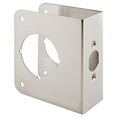Lock and Door Reinforcer, 1-3/4 Inch x 2-3/8 Inch Stamped Stainless Steel Construction, Satin Finish