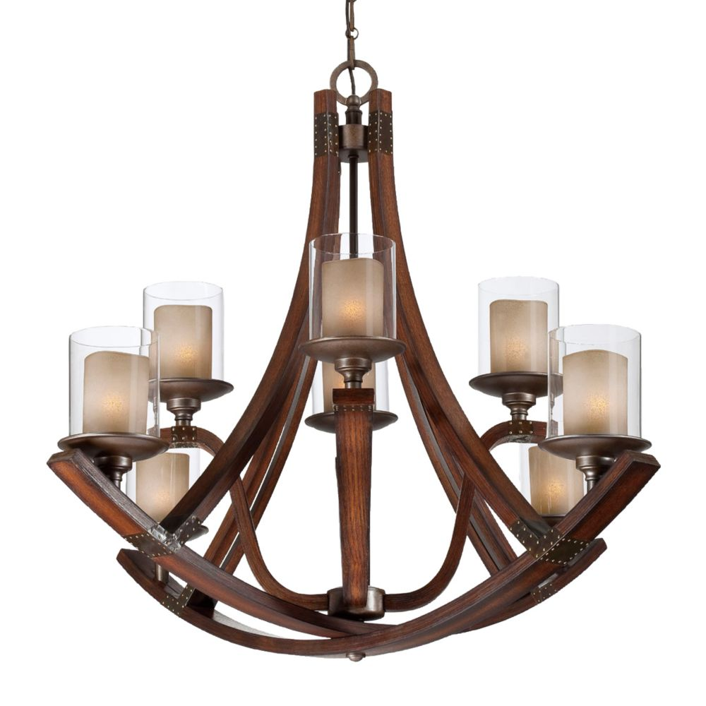 Mano Collection, 8-Light Wood Chandelier