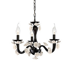 Martina Collection, 3-Light Black Chandelier