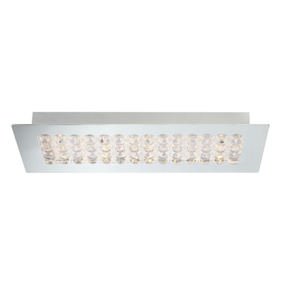 Collection Denso, luminaire rectangulaire à montage en surface chrome à 1ampoule DEL