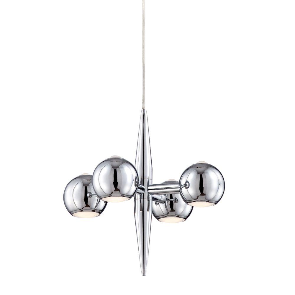Collection Pearla, luminaire suspendu chrome à 4ampoules DEL