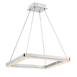 Zatina Collection, 1-Light LED Square Chrome Pendant