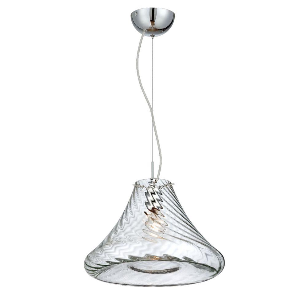 Collection Bloor, grand luminaire suspendu chrome et transparent à 1ampoule