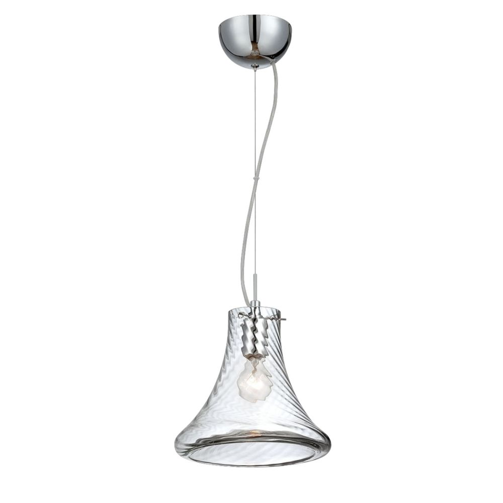 Bloor Collection, 1-Light Small Chrome and Clear Pendant