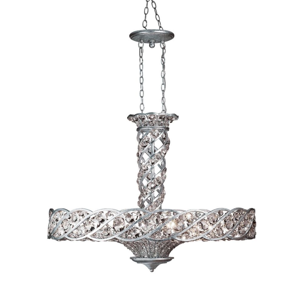 Catara Collection, 8-Light Silver Leaf Chandelier