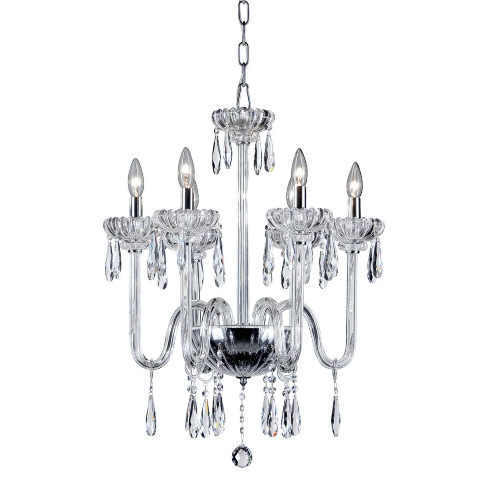 Villa Collection, 6-Light Chrome and Clear Chandelier