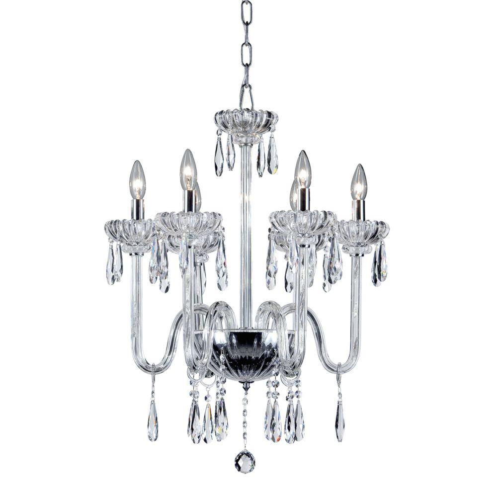 Collection Villa, lustre chrome et transparent à 6ampoules