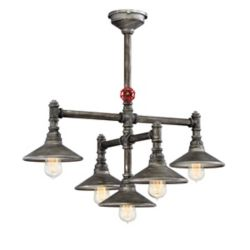 Eurofase Zinco Collection, 5-Light Aged Silver Chandelier