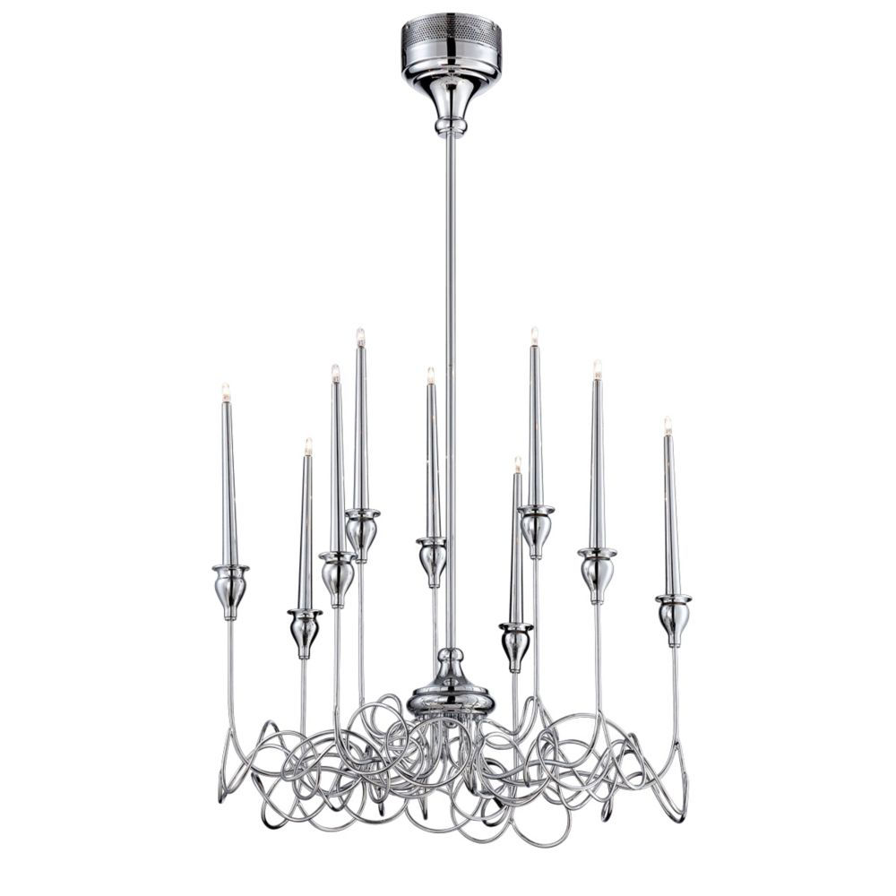 Candela Collection, 9-Light Chrome Chandelier