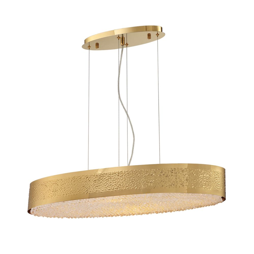 Collection Cara, lustre ovale doré à 8ampoules