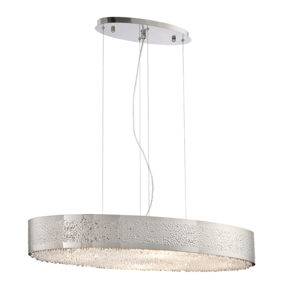 Cara Collection, 8-Light Oval Satin Nickel Chandelier