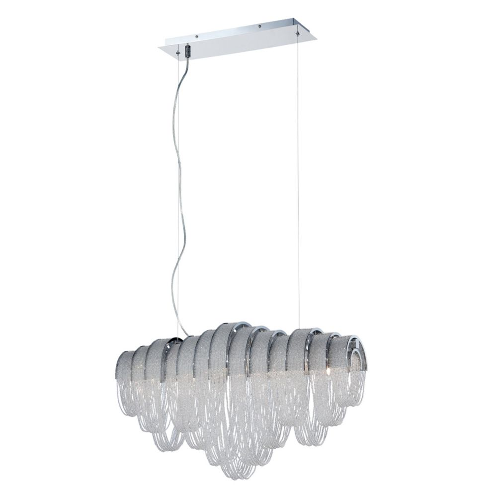 Sage Collection, 5-Light Chrome and Clear Linear Chandelier