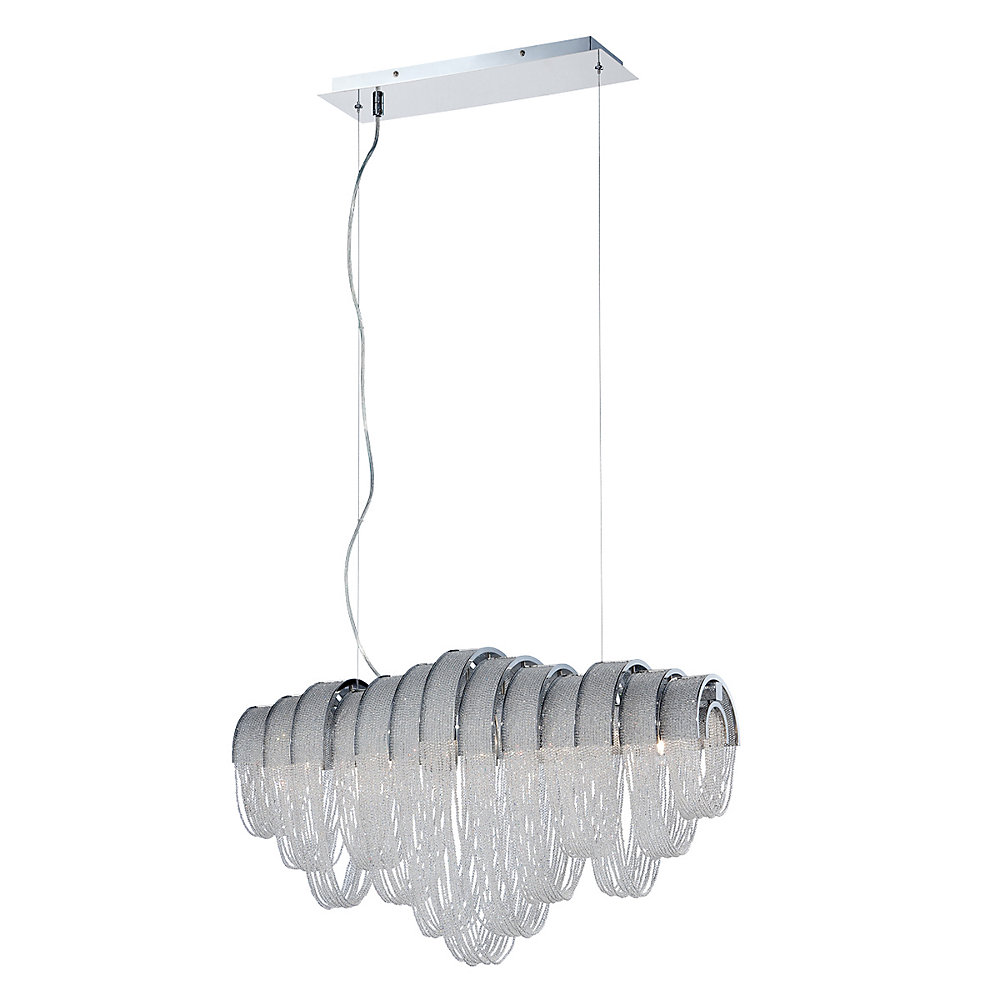 Collection Sage, lustre linéaire chrome et transparent à 5ampoules