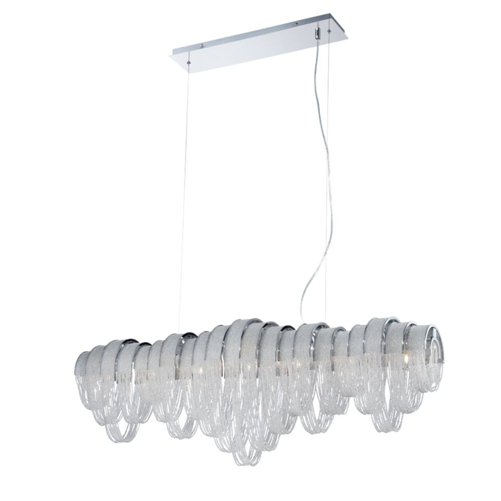 Sage Collection, 7-Light Chrome and Clear Linear Chandelier
