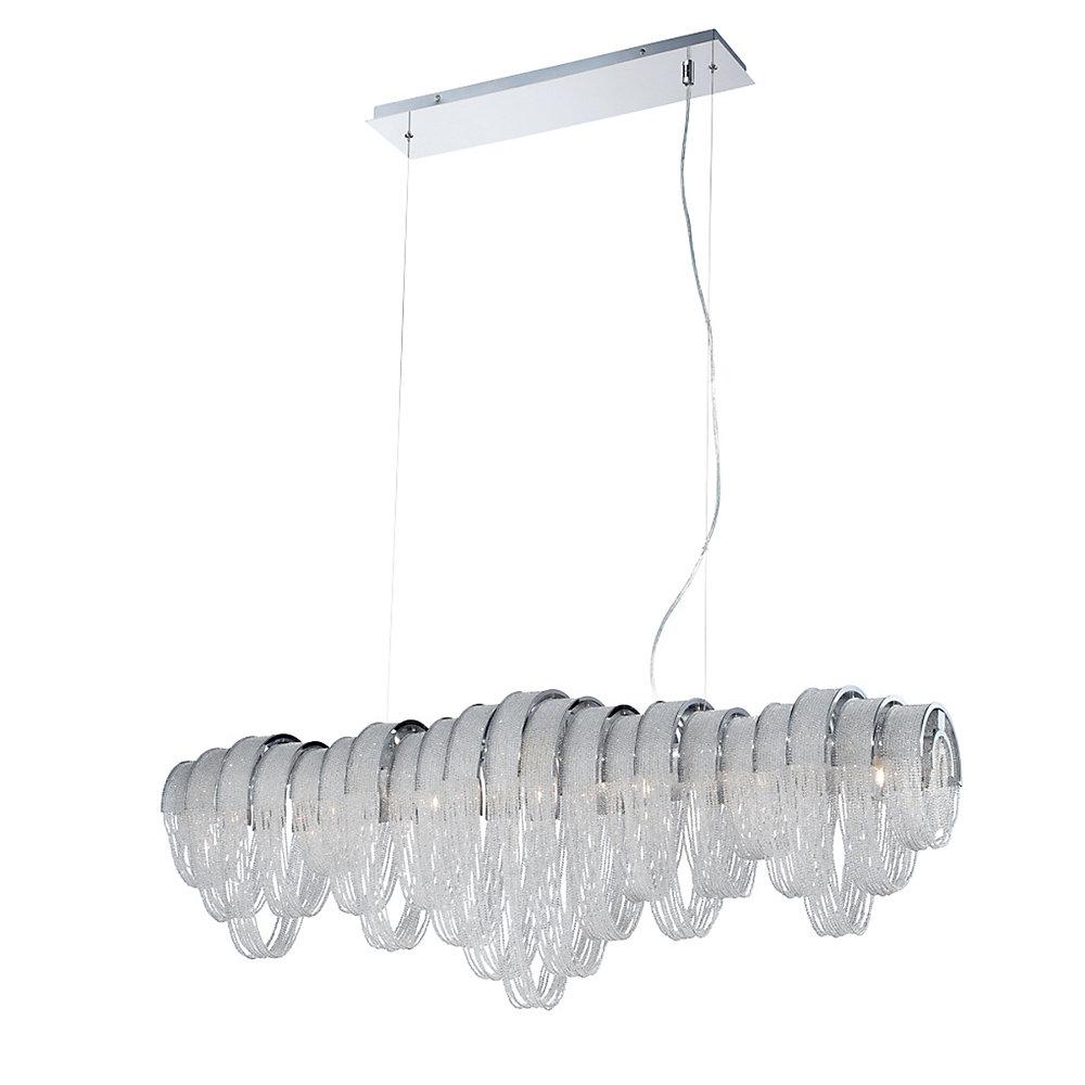 Collection Sage, lustre linéaire chrome et transparent à 7ampoules