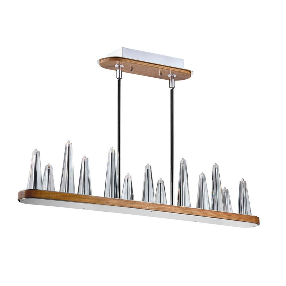 Eurofase Skyline Collection 13-Light Chrome and Clear Rectangular Chandelier with Clear Glass Shade