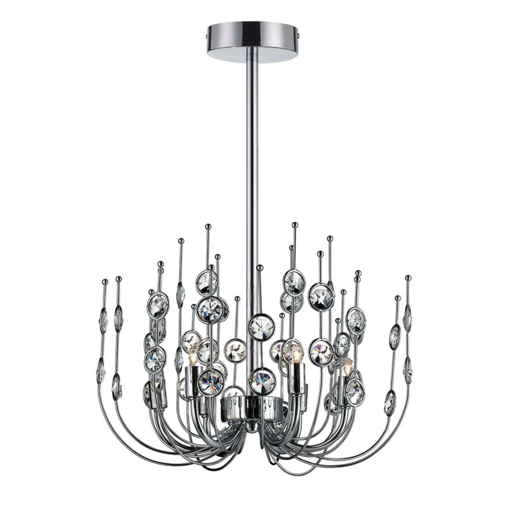 Vice Collection, 6-Light Chrome and Clear Chandelier