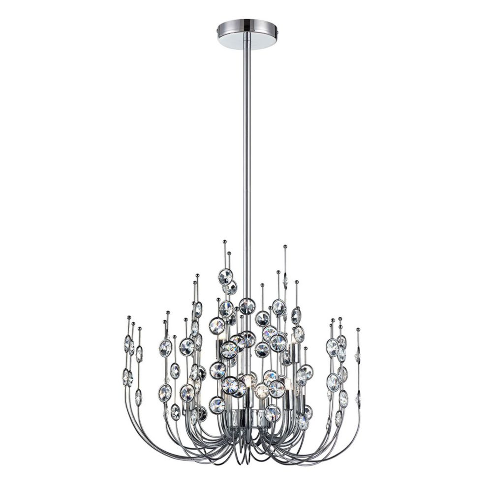 Vice Collection, 9-Light Chrome and Clear Chandelier