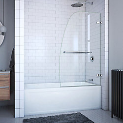 DreamLine Aqua Uno 34-inch x 58-inch Frameless Hinged Tub Door in Chrome with Handle