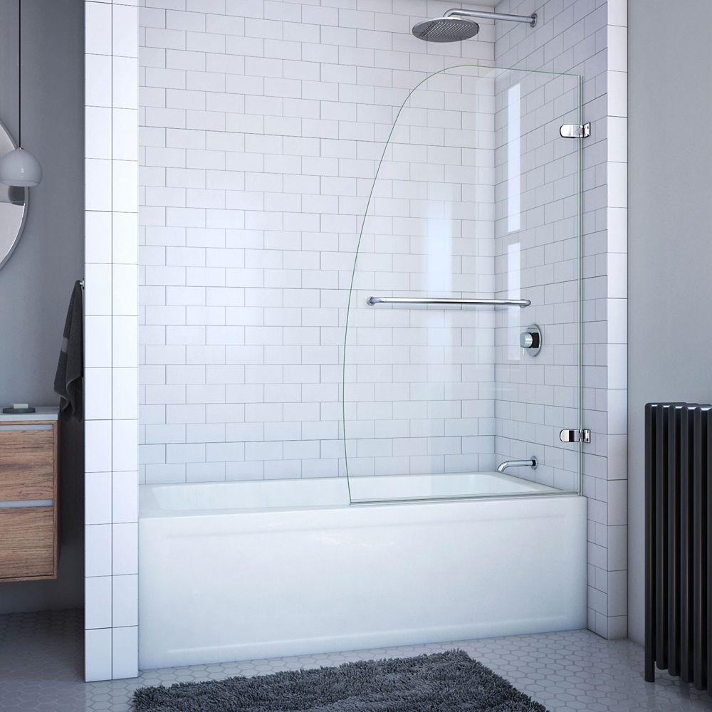 Aqua Uno 34 Inch x 58 Inch Frameless Hinged Tub Door in Chrome