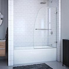 Aqua Uno 34-inch x 58-inch Frameless Pivot Tub Door in Brushed Nickel