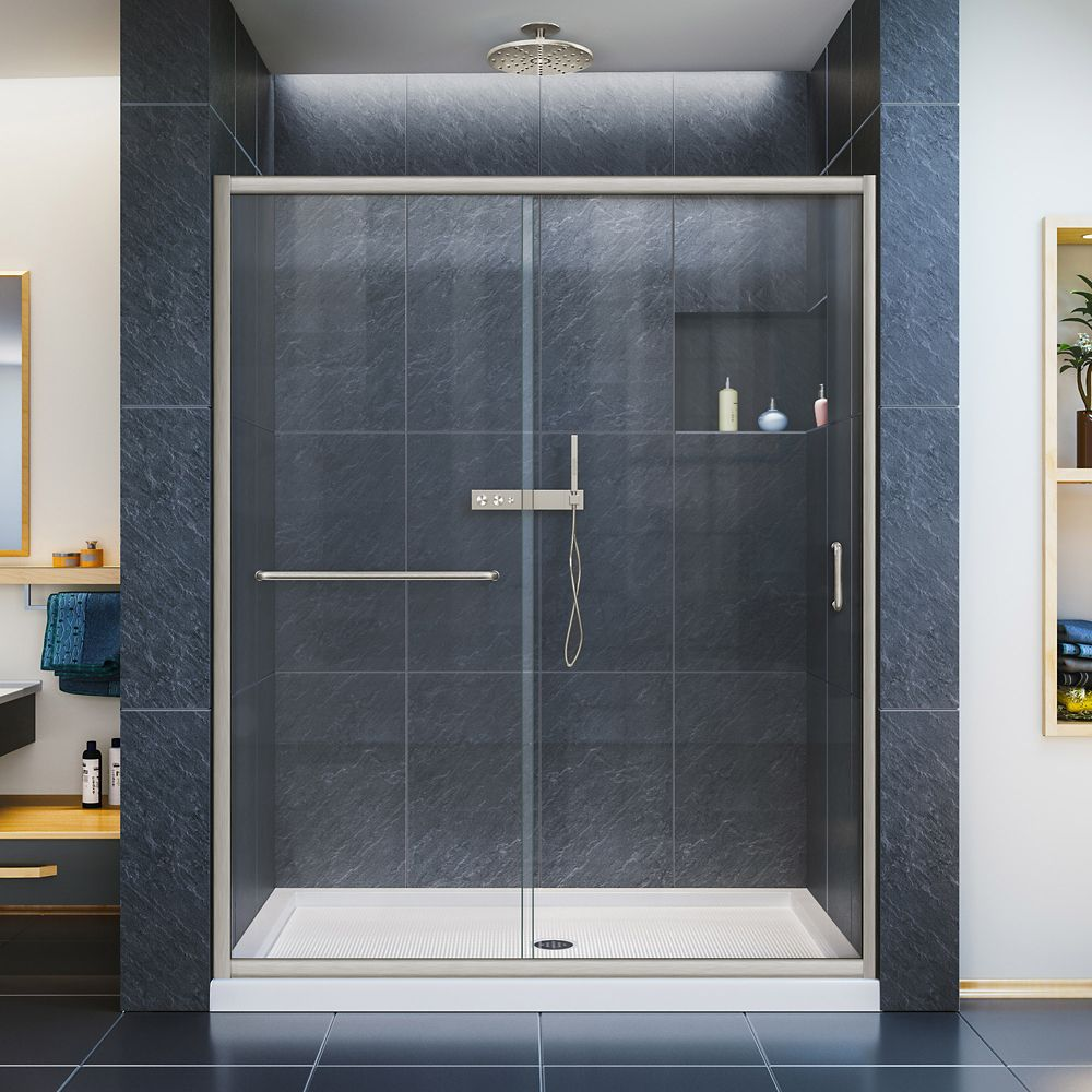 DreamLine Infinity-Z 56-inch to 60-inch x 72-inch Semi-Frameless Sliding Shower Door in Brushed Nickel