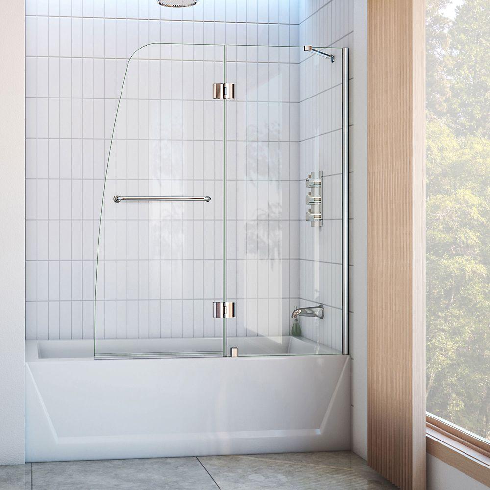 Aqua 48 Inch x 58 Inch Semi-Framed Hinged Tub Door in Chrome