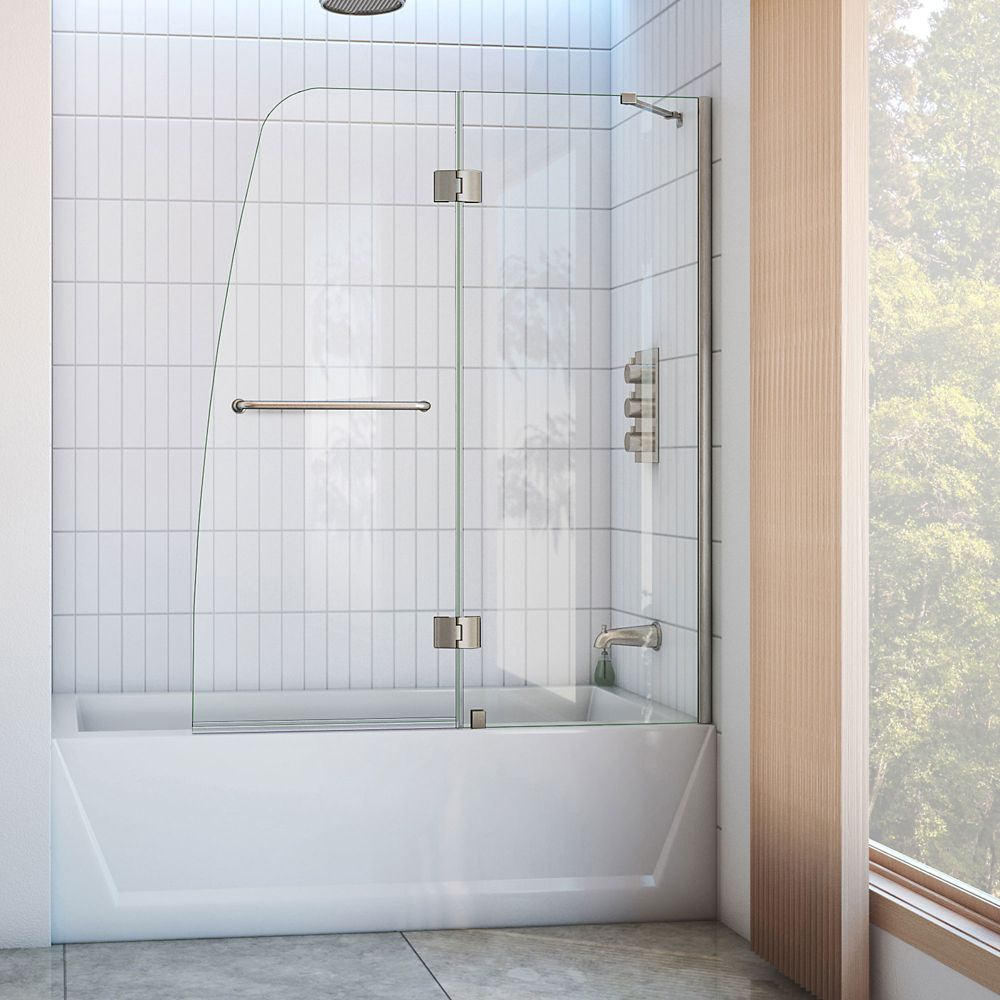 DreamLine Aqua 121.92 cm Porte de baignoire en à Articulée, Le verre de 0.64 cm, nickel brossé