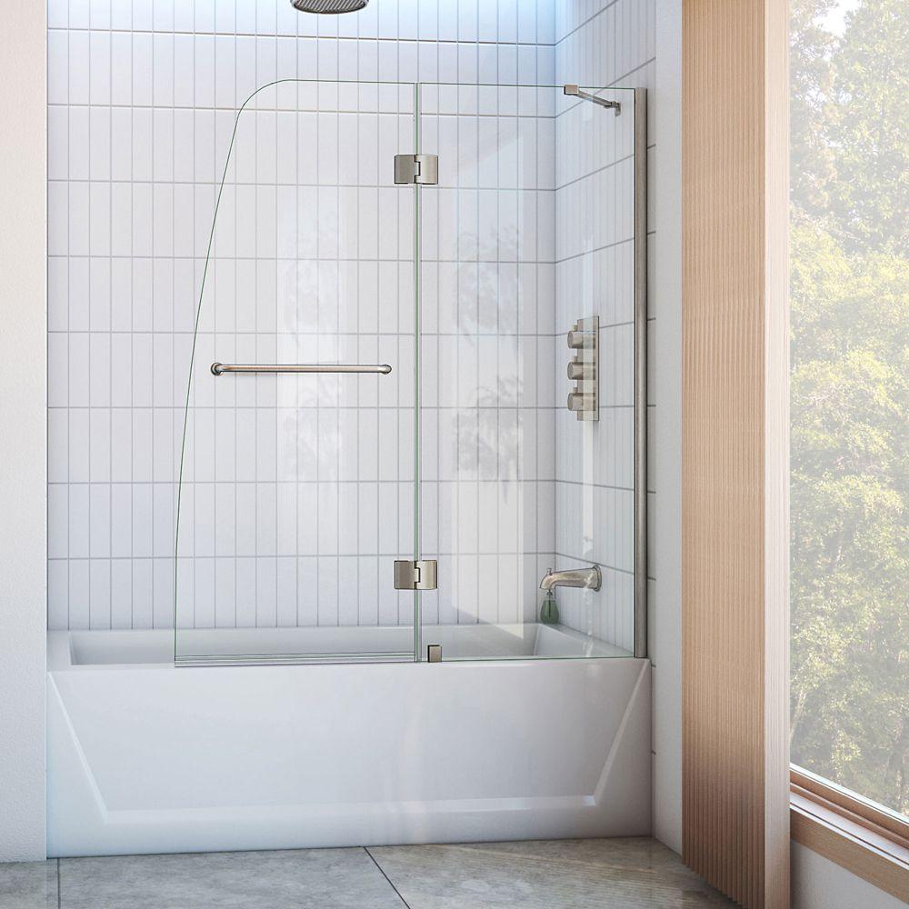DreamLine Aqua 48-inch x 58-inch Semi-Frameless Pivot Tub/Shower Door in Brushed Nickel
