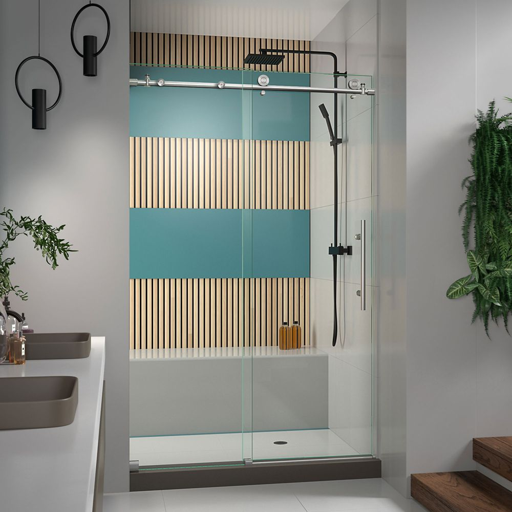 Enigma-X 44 to 48 Inch x 76 Inch Frameless Sliding Shower Door in Brushed Stainless Steel