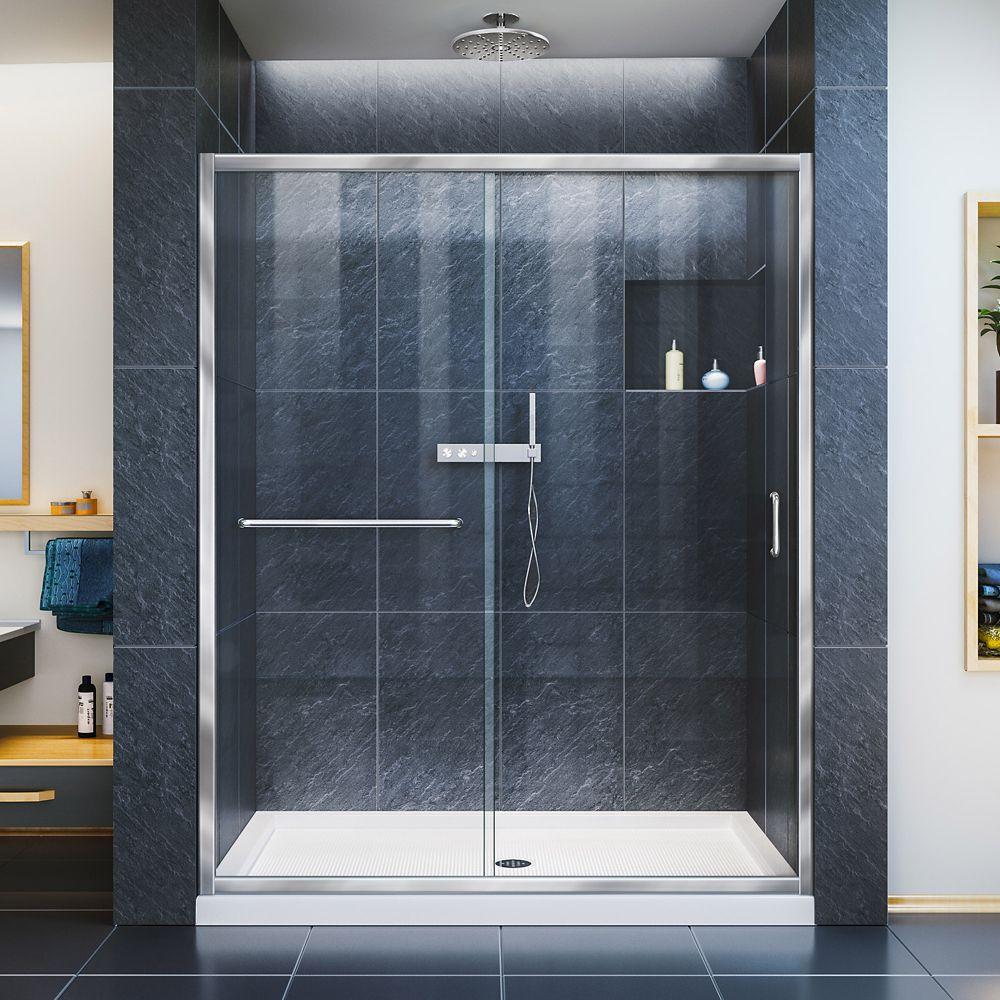 Infinity-Z 56 to 60 Inch x 72 Inch Framed Sliding Shower Door in Chrome