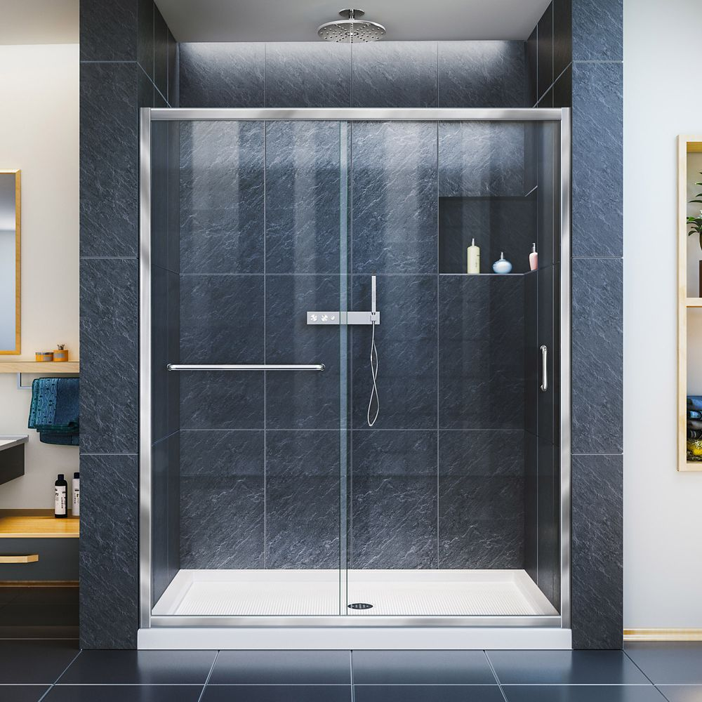 Infinity-Z 56-inch to 60-inch x 72-inch Semi-Frameless Sliding Shower Door in Chrome