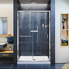 Infinity-Z 44-inch to 48-inch x 72-inch Semi-Framed Sliding Shower Door in Chrome