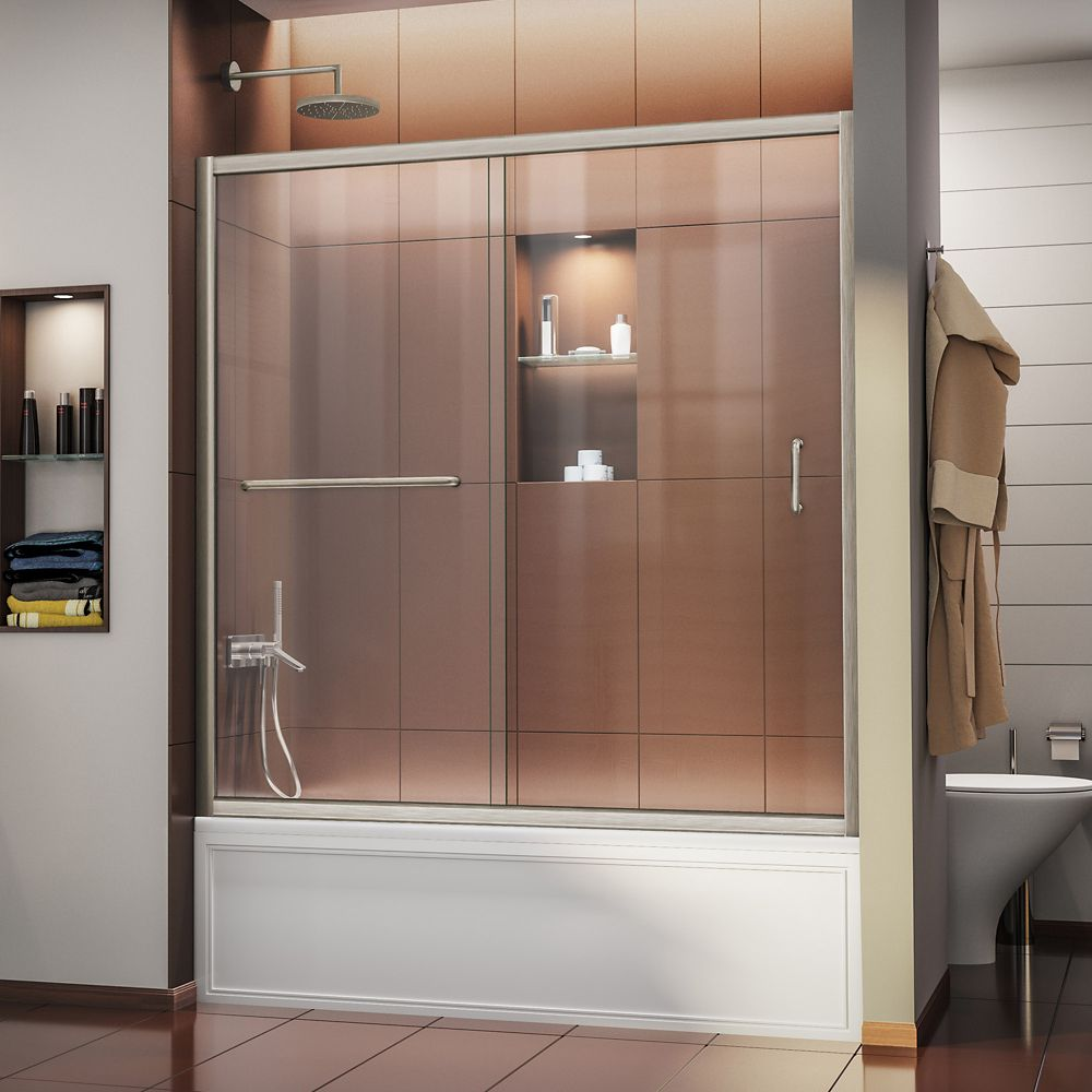 Infinity-Z 56-inch to 60-inch x 58-inch Semi-Frameless Sliding Tub Door in Brushed Nickel with Handle