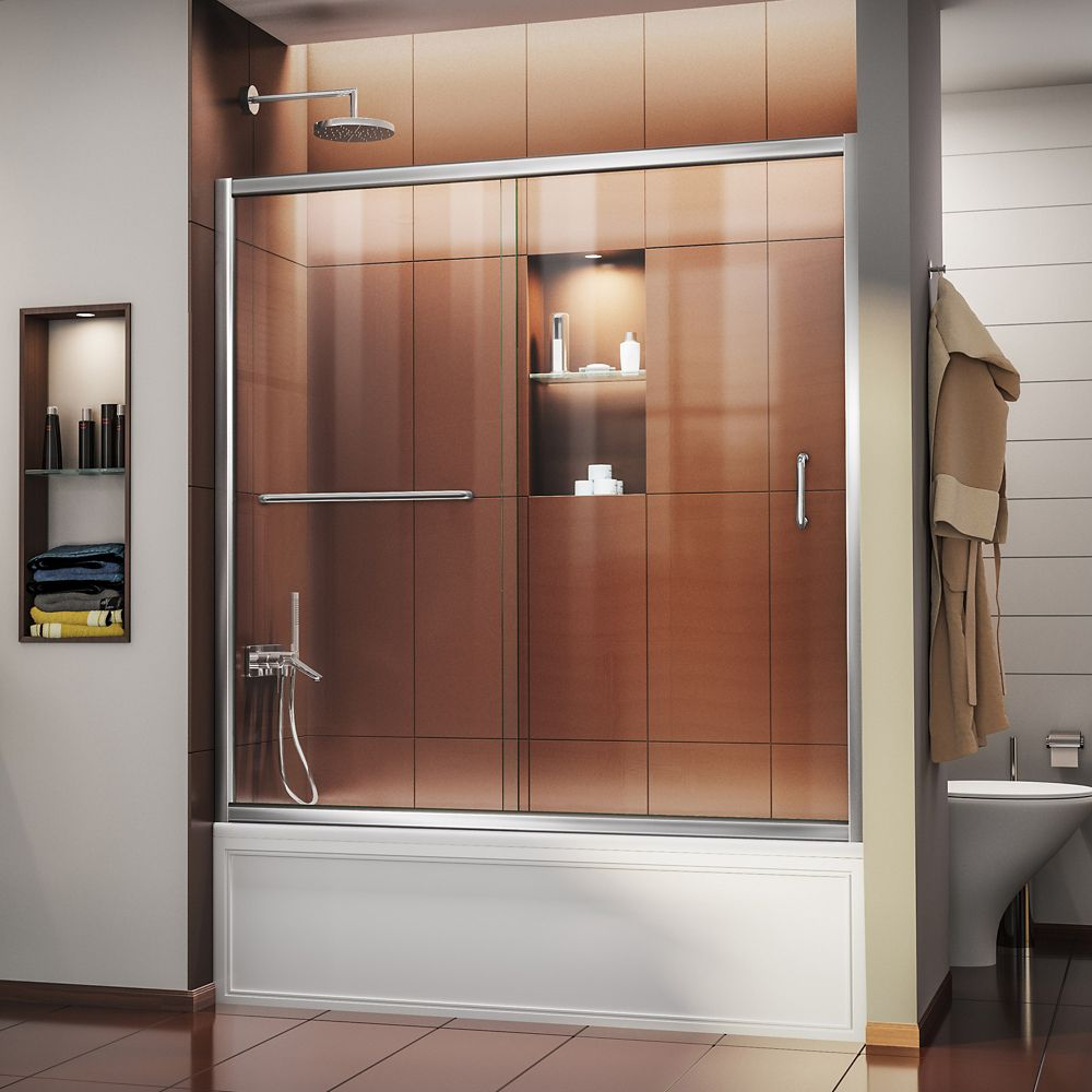 Infinity-Z 56-inch to 60-inch x 58-inch Semi-Frameless Sliding Tub Door in Chrome with Handle