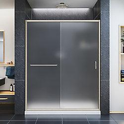 DreamLine Infinity-Z 56-inch to 60-inch x 72-inch Semi-Framed Sliding Shower Door in Brushed Nickel