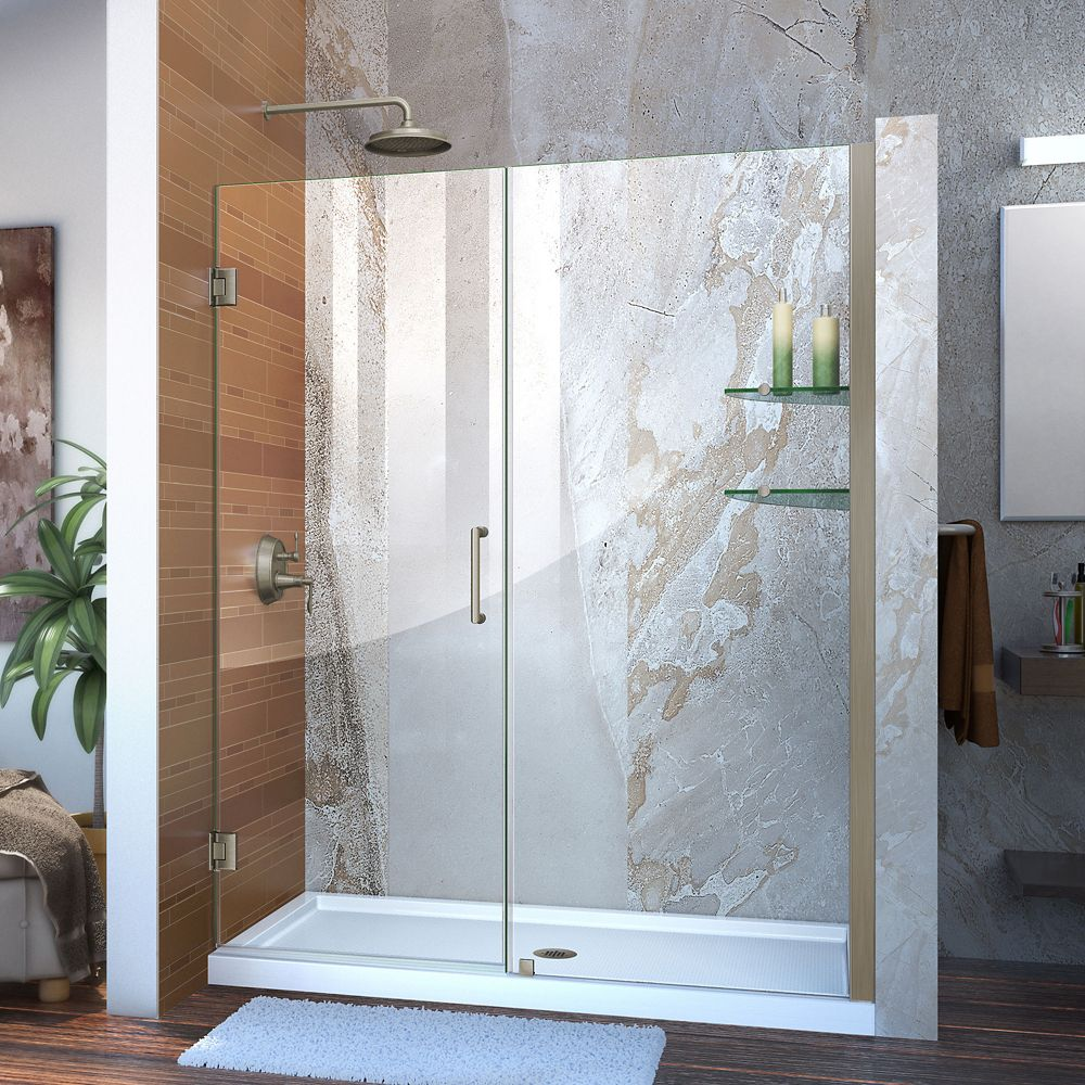 Unidoor 58 to 59 Inch x 72 Inch Semi-Framed Hinged Shower Door in Brushed Nickel