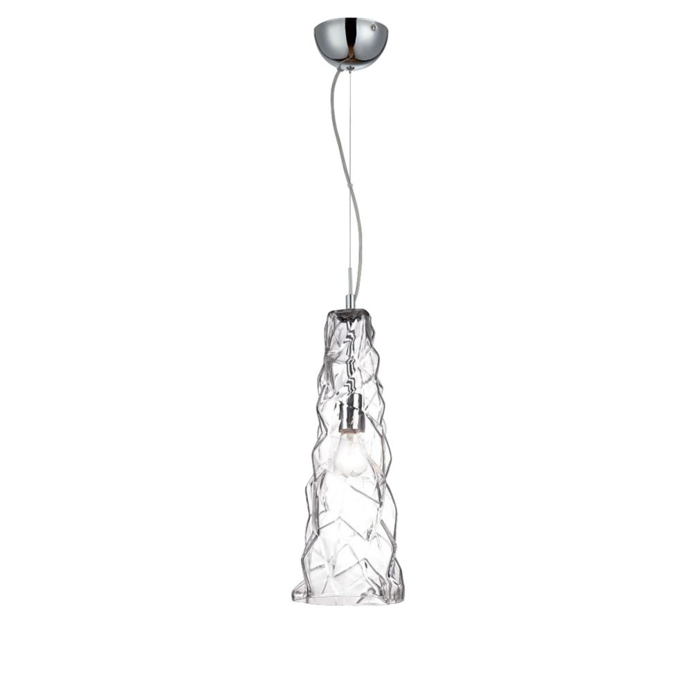 Lazer Collection, 1-Light Chrome and Clear Pendant