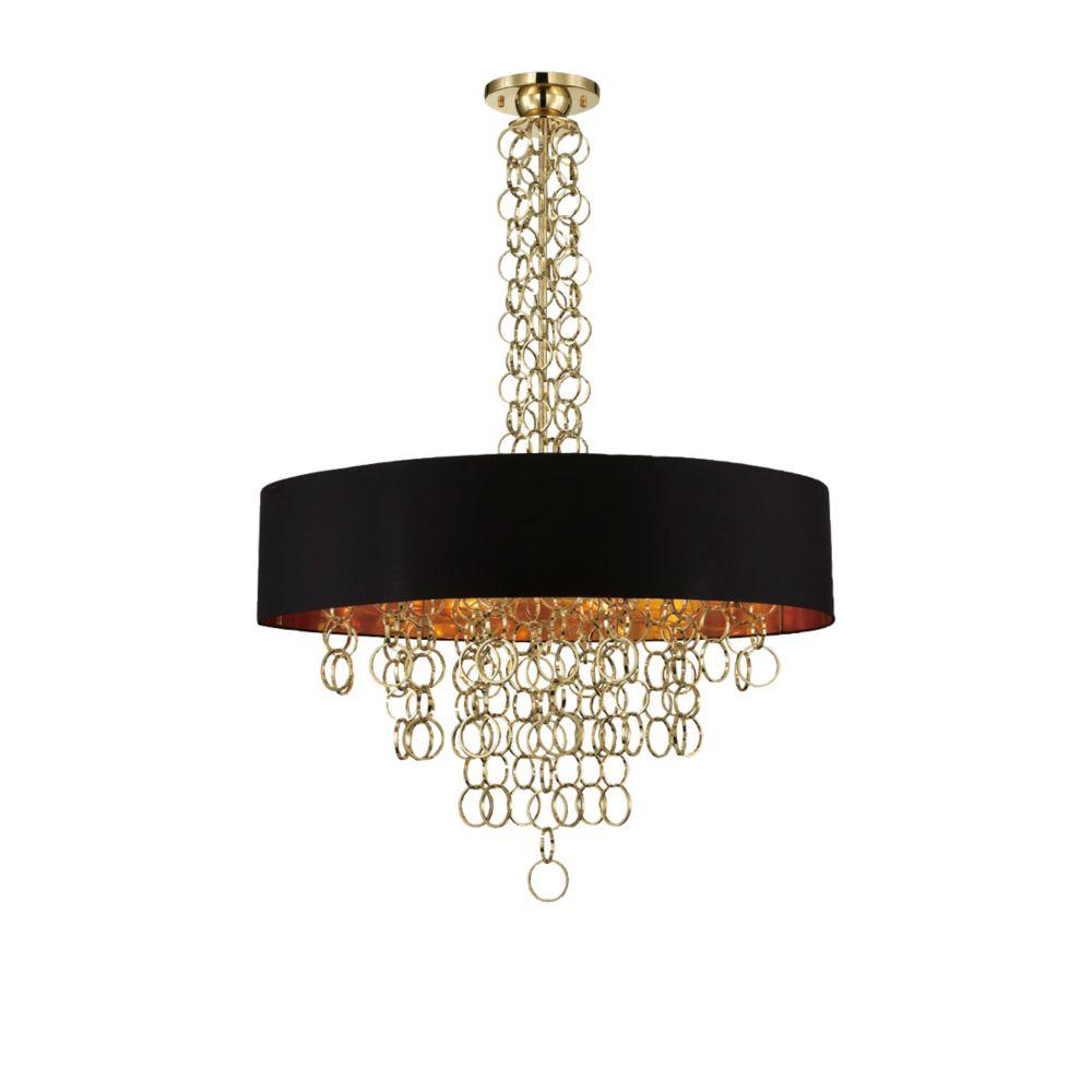 Collection Novello, luminaire suspendu doré à 12ampoules