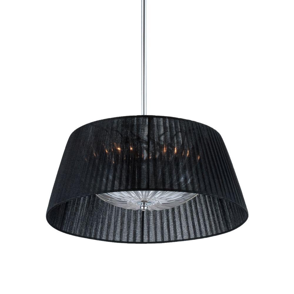 Collection Salvo, luminaire suspendu chrome et noir à 2ampoules