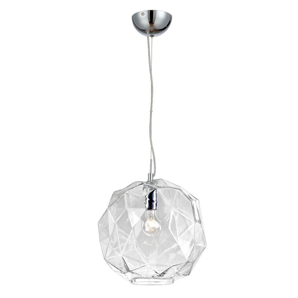 Collection Studio, luminaire suspendu chrome et transparent à 1ampoule