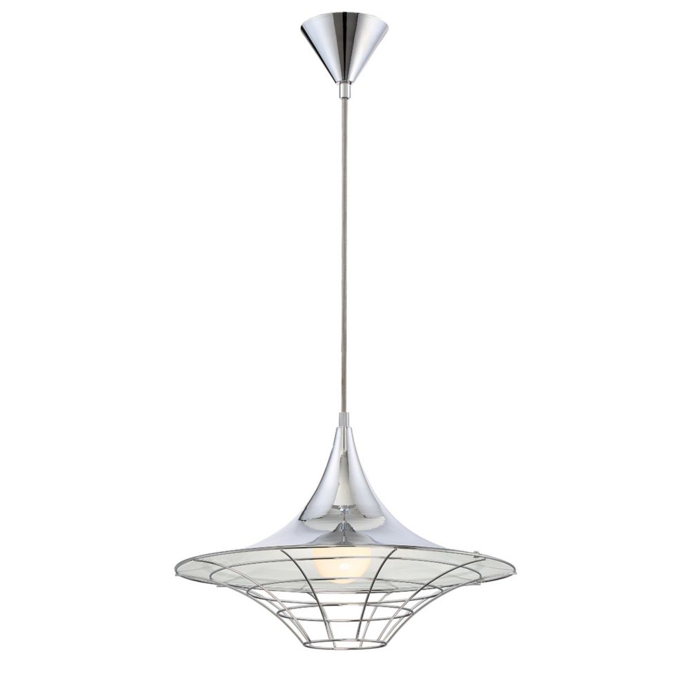 Collection Windsor, luminaire suspendu chrome à 1 ampoule