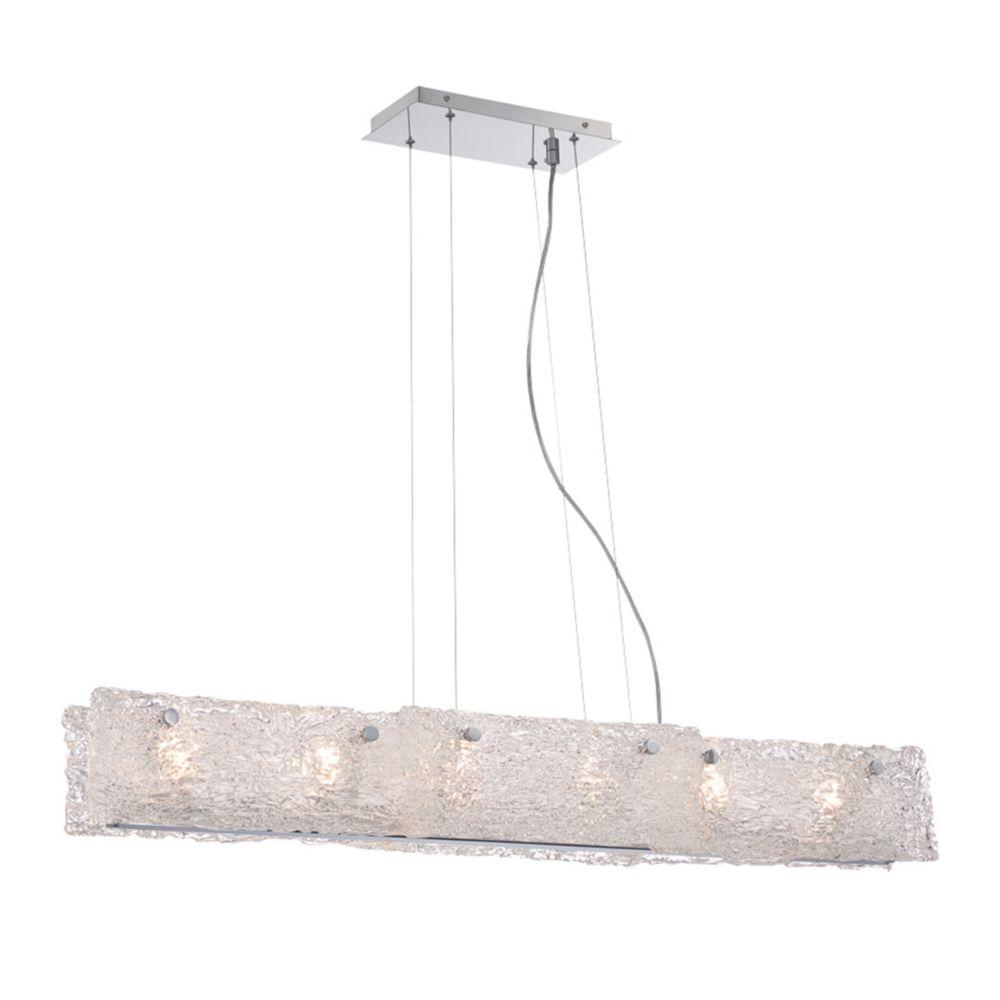 Collection Caramico, luminaire suspendu linéaire chrome à 6ampoules